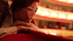 Beautiful Woman Waiting Begining of Play Theater Stock Footage