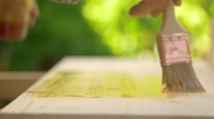 Hobby and work, painting a wooden board Stock Footage