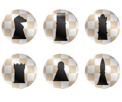 Chess figures icon set - stock illustration