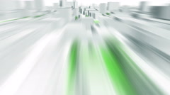 Very fast camera flight through 3D City, seamless loop, motion blur. Stock Footage