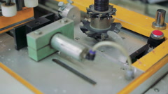 Close-up milling cutter on the production machine at factory 4K Stock Footage