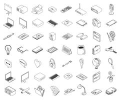 Set of isometric icons computer technology and office equipment - stock illustration