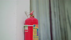 Close-up fire extinguisher at the factory on the white background 4K - stock footage