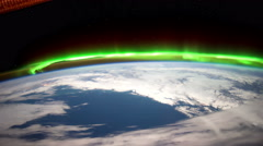 Earth and Aurora Borealis from ISS. Elements of this video furnished by NASA. - stock footage