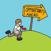 Man following opportunity ahead sign Stock Illustration