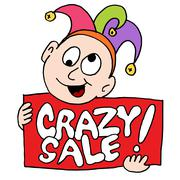 crazy sale sign with jester - stock illustration