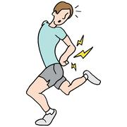 running man having back pain - stock illustration