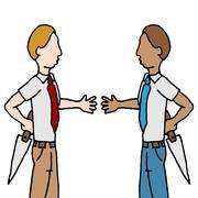 businessman and shake back stabbing - stock illustration