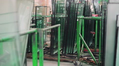 Storage of window glass at the window factory 4K Stock Footage
