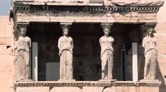 statue Caryatids in Athens acropolis citadel panoramic - stock footage