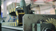 Work of the window machine production at the window factory 4K - stock footage