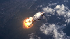 Carrier Rocket Takes Off Over The Clouds Stock Footage