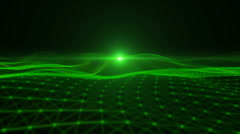 Green particle dimension space background. - stock footage