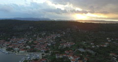Aerial View Of Beautiful Small Town Sibenik. Stock Footage