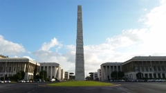 The obelisk to Guglielmo Marconi in Rome Stock Footage