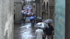 Meeting organized by the trade unions in the narrow streets of Santiago de Co Stock Footage