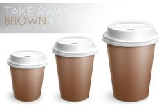 Take away paper cup brown Stock Illustration