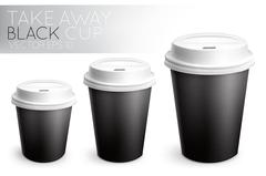Take away paper cup black - stock illustration
