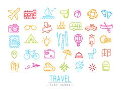 Travel flat color icons - stock illustration