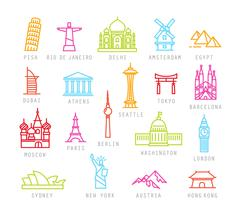 City flat color icons Stock Illustration