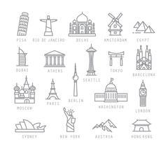 City flat icons Stock Illustration