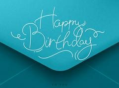 Birthday envelope blue - stock illustration
