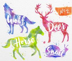 Painted animals deer - stock illustration