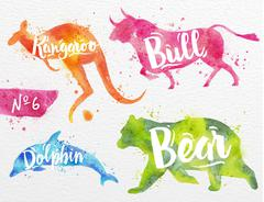 Painted animals bull - stock illustration