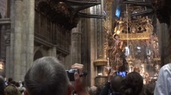 Religious ceremony held in the Cathedral of Santiago de Compostela attended Stock Footage