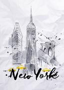 Watercolor New York buildings Stock Illustration