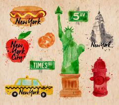 New York symbols kraft Stock Illustration