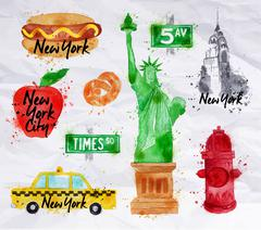 New York symbols crumled paper - stock illustration