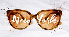 Watercolor glasses New York Stock Illustration