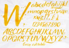 Modern alphabet orange color. - stock illustration