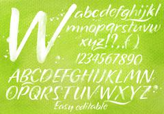 Modern alphabet green background. Stock Illustration