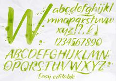 Modern alphabet green color. - stock illustration