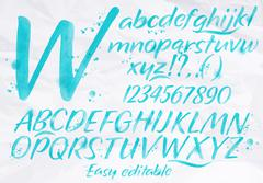 Modern alphabet blue color. - stock illustration