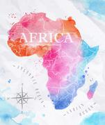 Watercolor map Africa pink blue - stock illustration
