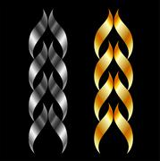 Design element in gold and silver  - stock illustration