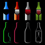 Bottles and glasses- spirits  - stock illustration