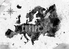 Ink Europe map - stock illustration