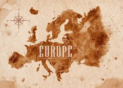 Map Europe retro - stock illustration