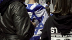 NYU kids showing solidarity with Isreal - Jewish students in New York City Stock Footage