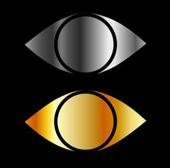 Set of eyes symbols in gold and silver  - stock illustration
