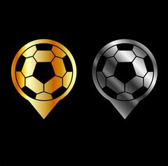 Footballs inside gold and silver placement- football stadium symbol  Piirros