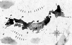 Ink Japan map - stock illustration