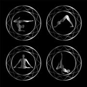 Yoga or gymnast silhouette in geometric design element  - stock illustration