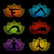 A set of yoga and meditation symbols - stock illustration