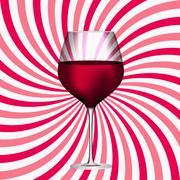 Full Glass of Red Wine on Swirl Background Vector Illustration - stock illustration