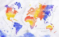 Watercolor world map red purple - stock illustration